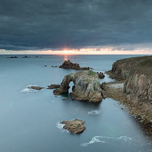Sunset over Enys Dodnan Rock at lands End -  1x1 crop