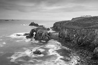 Moody weather at Lands End (Monochrome)