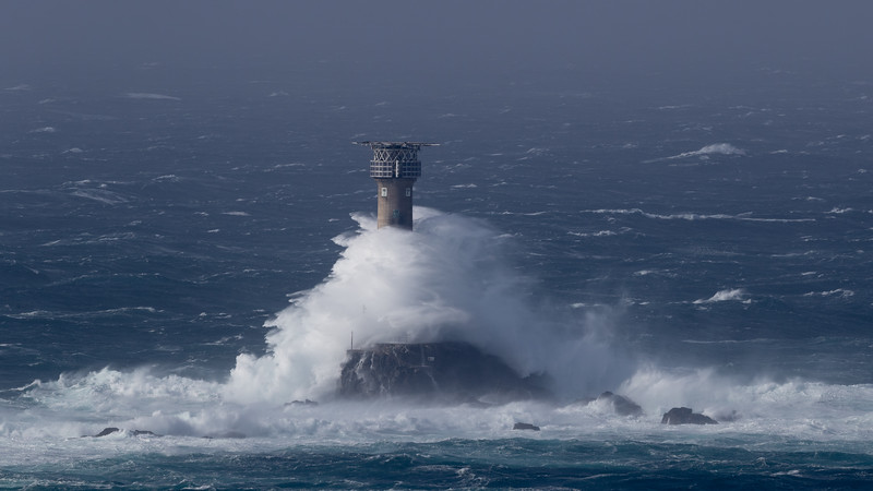 Waves Breaking over Longships Lighthouse_Storm Ophelia_1