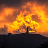 Sunset over Carn Brea, Redruth, Cornwall