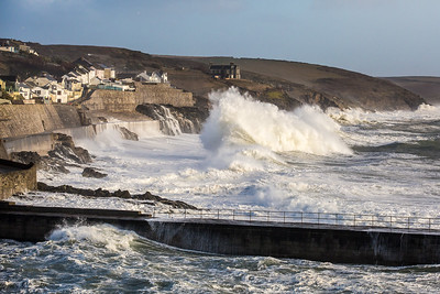 Heavy seas as winter storm hits Porthleven, Cornwall