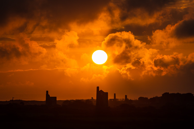 Sunset over Carnkie, Redruth, Cornwall