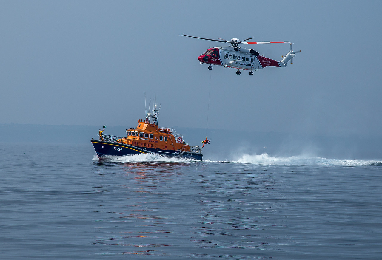 Touchdown - Falmouth lifeboat exercise with Coastguard helicopter