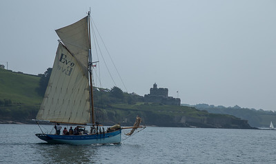 Eve of St Mawes, a Classic pilot cutter sailing past St Mawes Castle