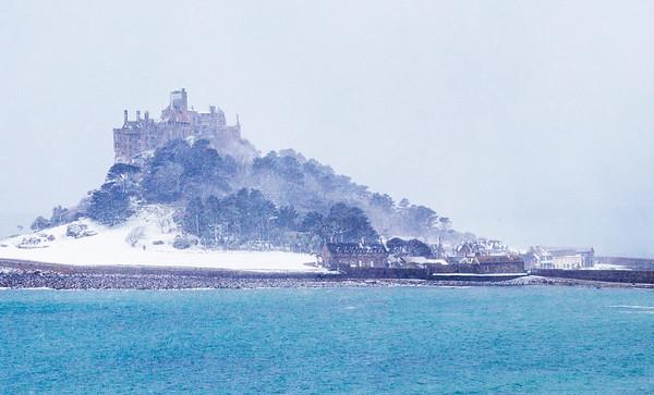 St Michael's Mount under snow