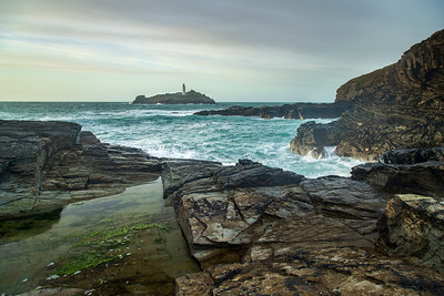 Godrevy lighthouse with reflecting pool