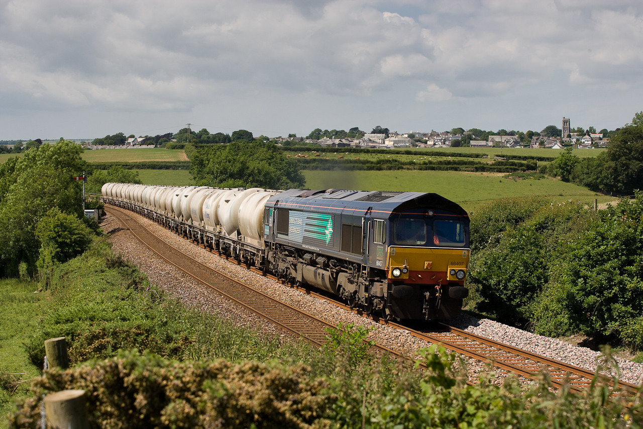 150606  66407 with first DRS on the Moorswater cement at Cartuther Barton,Nr Liskeard
