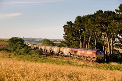250706  66159 on 6V41 the returning Irvine-Burngullow at Trerulefoot at 0645am