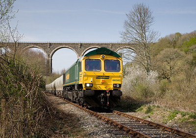 170407 66582 departs Moorswater with the return cement. This was the first working in nearly 7 months of the train.