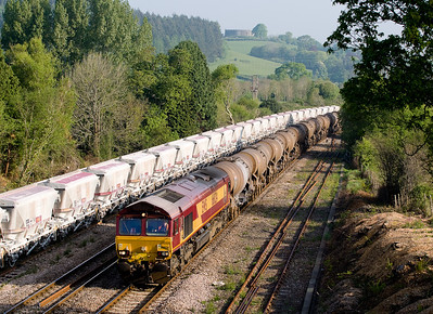 040507 66024 with the 6V41 TFO  0125 Washwood Heath-Burngullow passes Lostwithiel