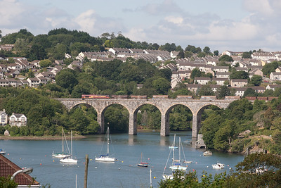 120806  66049 with a very late running 6C89 2223 Cardiff Tidal-Burngullow crossing Saltash viaduct