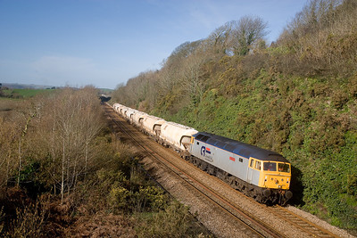 070307 47810 6F77 0825 Blazey-Tavi thence to Glos.Taking China Clay wagons that have come off hire.Passes Wearde Quay near Saltash