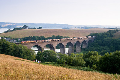 250706  66159 6M72  TO 1901 Burngullow-Cliff Vale crosses Forder viaduct