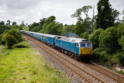 210606  47712 heads the Blue pullman from penzance to Kennsington at Bethany near Liskeard