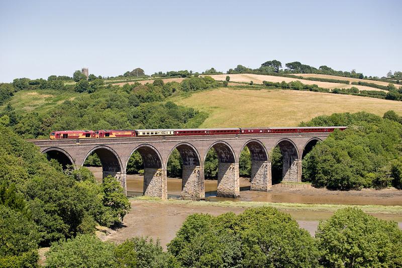150706  67023 67027 on 1Z60 0738 Hove-Par Edenex crosses Forder viaduct