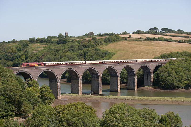 "150706 67015  1Z55 05:16 Manchester Victoria - Par Edenex ""Northern Belle"" crosses Forder viaduct"