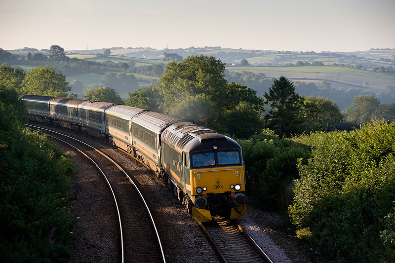 180706 57604 has just crossed Moorswater viaduct with the 1C99   23:50 Paddington-Penzance  sleepers