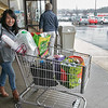 Many are rushing to the supermarkets to stock up during the coronavirus emergency on Friday, March 13, 2020. Cyndi Deshaies at the Market Basket on John Fitch in Fitchburg. SENTINEL & ENTERPRISE/JOHN LOVE
