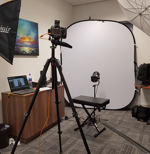 Example of ra studio setup in a small office room onsite.