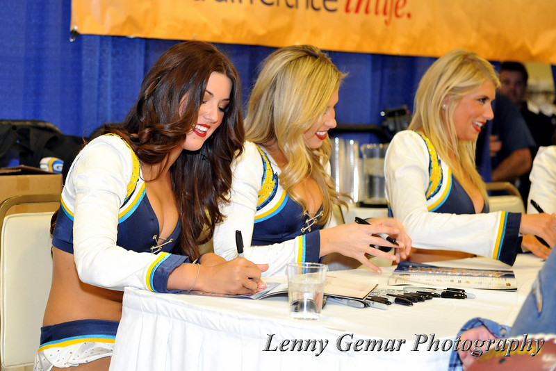 Charger Girls signing autographs