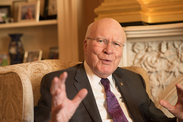 US Senator Leahy, a self-confessed Batman fan, talks to the AFP on Nov. 28, 2017.
