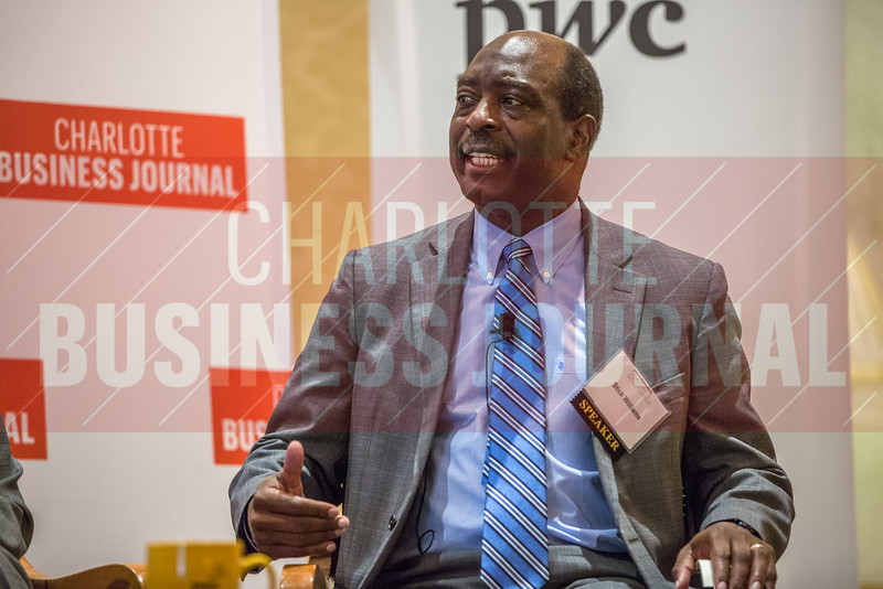 Stick Williams, Carolinas Healthcare System Board Member, participates in a panel discussion at the Corporate Governance Breakfast, held at Quail Hollow Country Club.