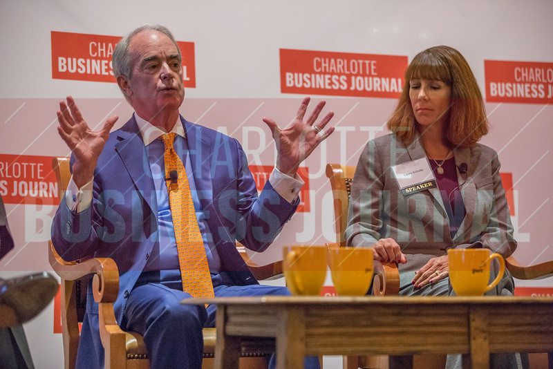 Jim Rogers, Cigna Corporation Board Member (left), and Laura Shulte, Novant Health Board Member (right), participate in a panel discussion at the Corporate Governance Breakfast, held at Quail Hollow Country Club.