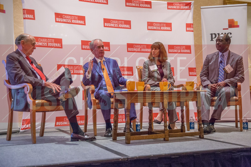 (Left to Right) Moderator Peter Browning, Equilar Board Member - Jim Rogers, Cigna Corporation Board Member - Laura Shulte, Novant Health Board Member - Stick Williams, Carolinas Healthcare System Board Member, at the Corporate Governance Breakfast, held at Quail Hollow Country Club.