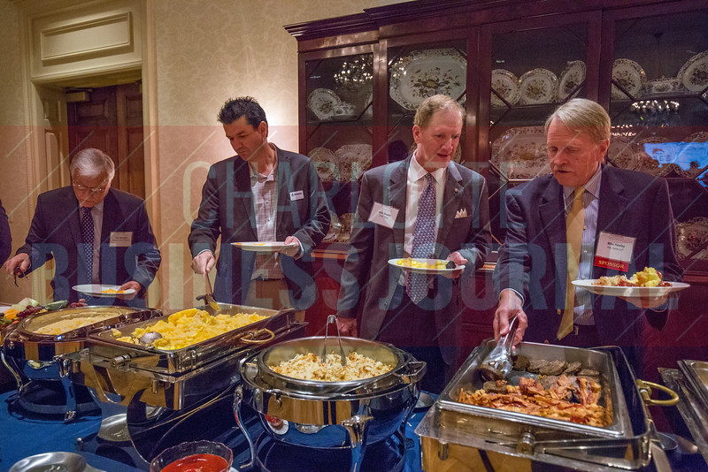 Food provided for attendees of the Corporate Governance Breakfast, held at Quail Hollow Country Club, before the event begins.