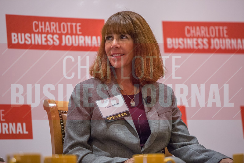 Laura Shulte, Novant Health Board Member, participates in a panel discussion at the Corporate Governance Breakfast, held at Quail Hollow Country Club.