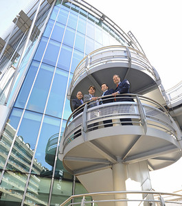 Spiral staircase team-shot