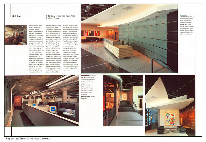 Reprinted from Corporate Interiors.  HKS corporate headquarters.