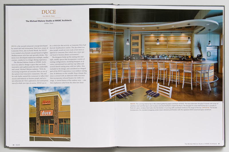 """Duce Restaurant appears in 2012 """"Retail Spaces"""" Food Book (6 page spread)."""