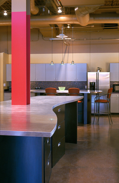 Open kitchen area of an ad agency
