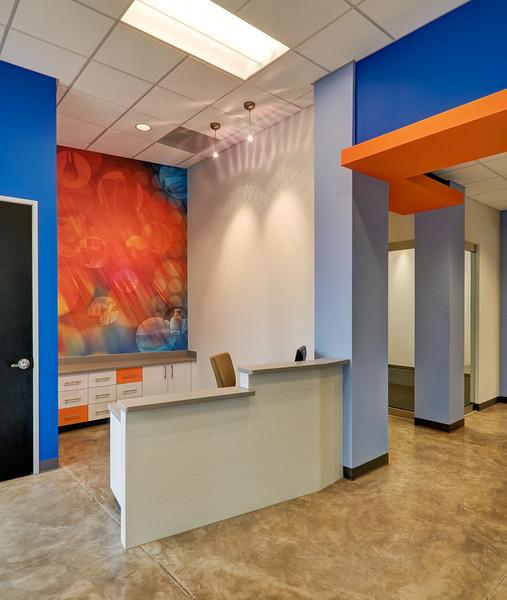 Reception area of warehouse facility.  Client:  Interior Design Group, Arlington TX.