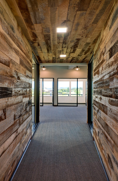 """Re-purposed barn wood was used in the """"tunnel."""""""