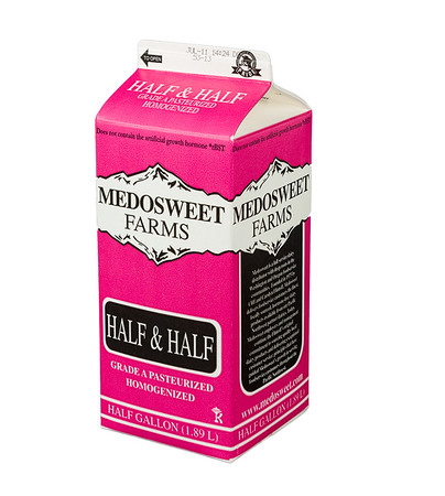 Medowsweet Farms half & half, half gallon.