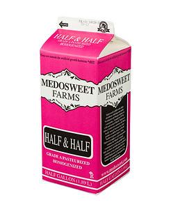 Medowsweet Farms half & half, half gallon.