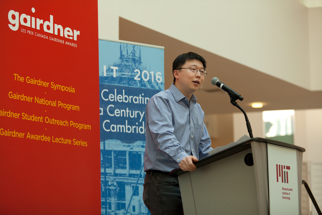 Award ceremony at the Massachusetts Institute of Technology for Feng Zhang, recipient of the Canada Gairdner International Award, 2016 for development of CRISPR-CAS as a genome editing tool for eukaryotic cells.  Photo by Erik Jacobs