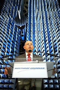 Ronald D. Sugar, chairman and CEO of Northrop Grumman Corporation, speaks from a podium in front of a  anechoic chamber, with a 60-foot by 40-foot near-field scanner system during a press conference unveiling the company's new antenna testing facility in Linthicum on Tuesday, Oct. 30, 2007. Chris Ammann/Examiner