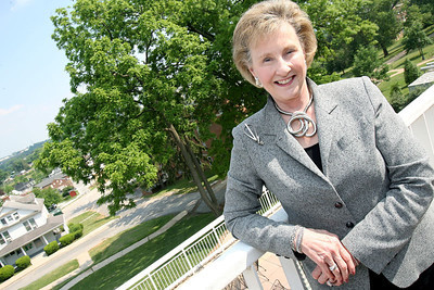 McDaniel college president Joan Develin Coley stands out on her office balcony looking over downtown Westminster on Thursday, May 31, 2007. Chris Ammann/Examiner