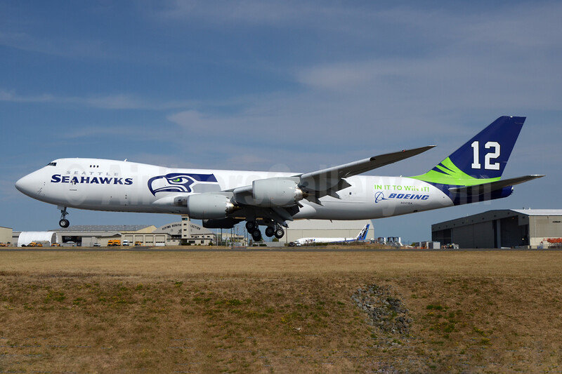 "Boeing's 2015 version of the Seattle Seahawks  ""12th Man"" livery"