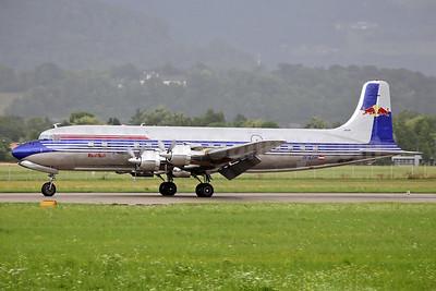 Red Bull Douglas DC-6B OE-LDM (msn 45563) SZG (Keith Burton). Image: 939284.