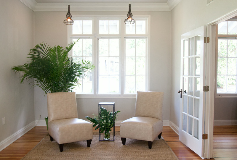 House soft furniture.  JMC added plants and sea grass rugs.