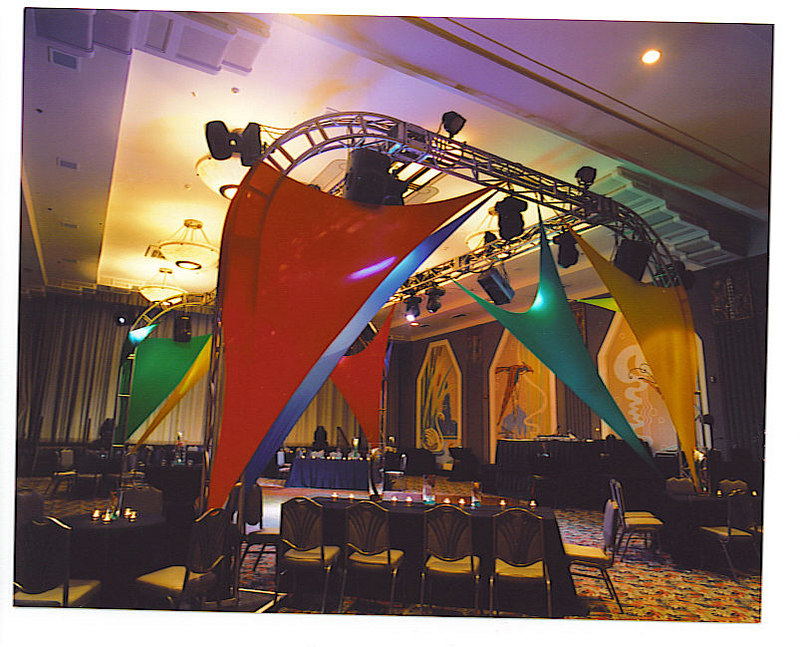 Local lighting company PDA Lighting and Sound erected the truss and spandex system.... ...another corporate incentive group in Charleston with JMC Charleston!