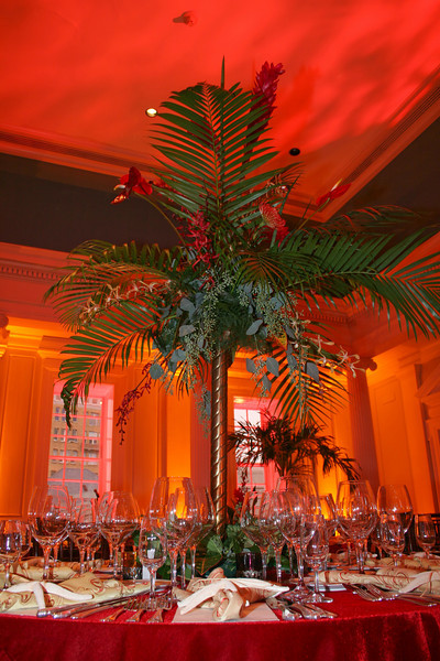 Ginger, orchids and antheriums accent arika palms to create a canopy for guests to dine under. ...JMC Charleston - Special Event Production and Design offering Destination Management Services in Charleston, South Carolina