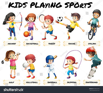 stock-vector-boys-and-girls-playing-sports-illustration-358562978