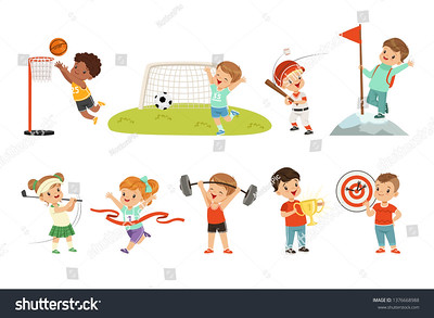 stock-vector-cute-little-children-playing-different-sports-footbal-soccer-golf-basketball-baseball-archery-1376668988