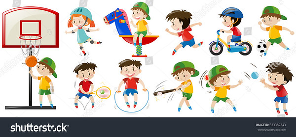 stock-vector-children-playing-different-sports-and-game-illustration-533382343