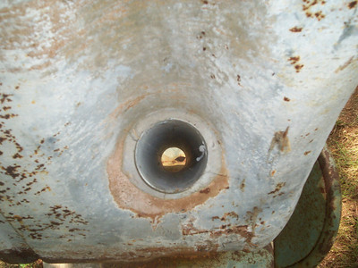 One more view of the nearly 3 inch hole. This one from the front of the tank.
